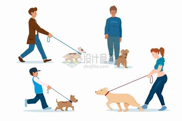 4个遛狗的年轻人扁平插画png图片素材
