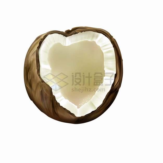 打开的一只椰子美味热带水果png图片素材