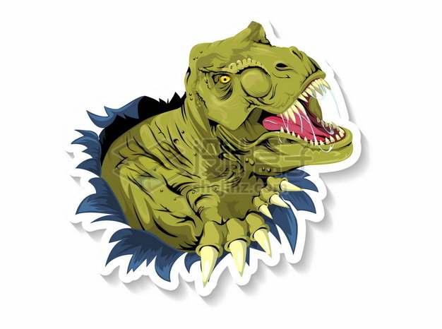 破纸而出的绿色卡通恐龙227750png矢量图片素材