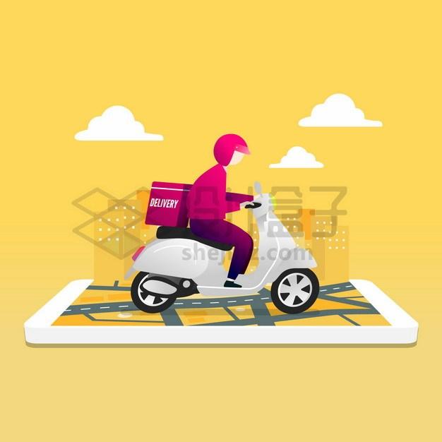 手机上骑电动车送餐的外卖小哥png图片素材 交通运输-第1张