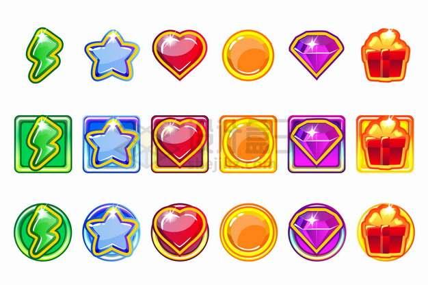 6套闪电五角星心形圆形水晶钻石游戏宝石按钮png图片素材