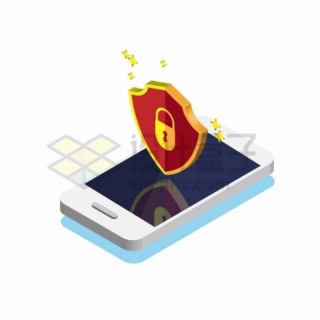 2.5D风格手机上的盾牌象征了手机网络安全png图片素材