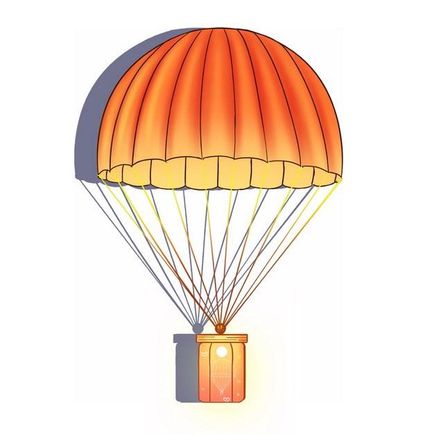 橙色降落伞吊着礼物插画998760png图片素材 漂浮元素-第1张