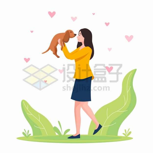 女孩抱着狗狗遛狗喜欢宠物扁平插画png图片素材