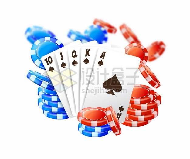扑克牌和红色蓝色筹码819014png矢量图片素材