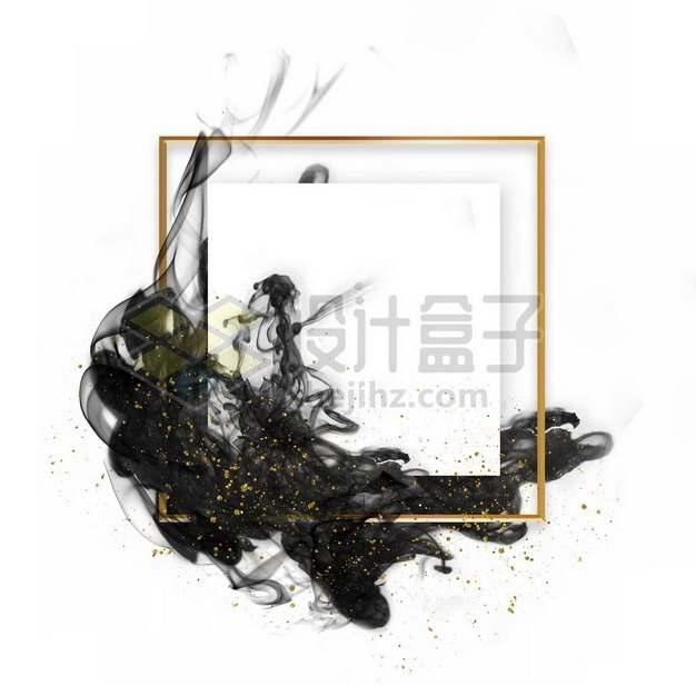 墨水烟雾水墨装饰的金色边框文本框标题框信息框820030psd/png图片素材