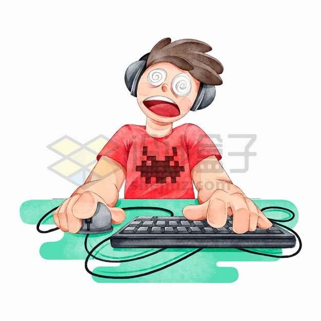 玩电脑游戏玩得头昏眼花的宅男游戏上瘾水彩插画png图片素材
