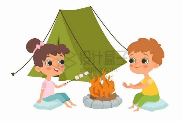 情侣搭帐篷野营篝火烤棉花糖吃卡通插画png图片素材