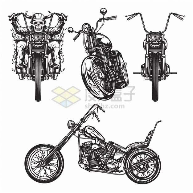 骷髅头骑着哈雷摩托车复古摩托车手绘漫画插画png图片素材
