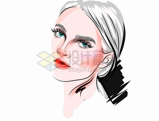 充满时尚魅力的美女化妆美妆彩绘插画png图片素材 人物素材-第1张