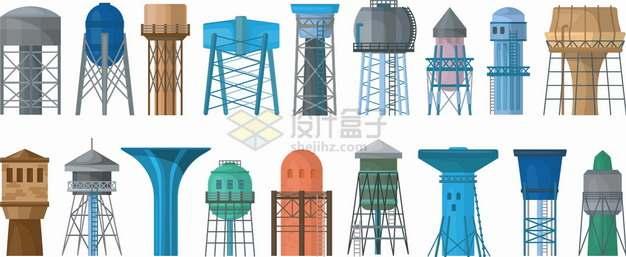 18款各种造型的水塔png图片素材