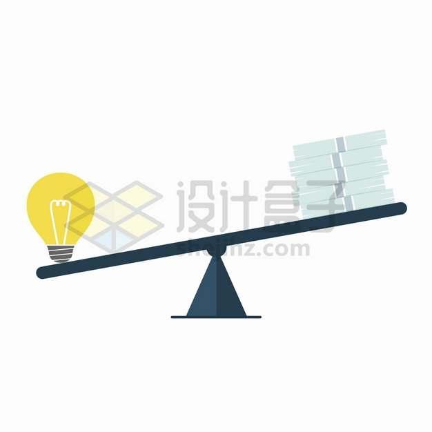 象征创意的电灯泡和金钱跷跷板png图片素材