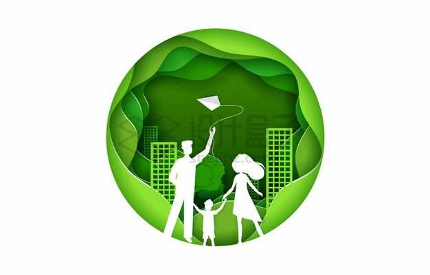 绿色剪纸叠加风格放风筝的一家三口春游郊游png图片素材
