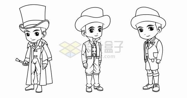 卡通男孩穿着英国德国法国传统服装手绘线条插画png图片素材