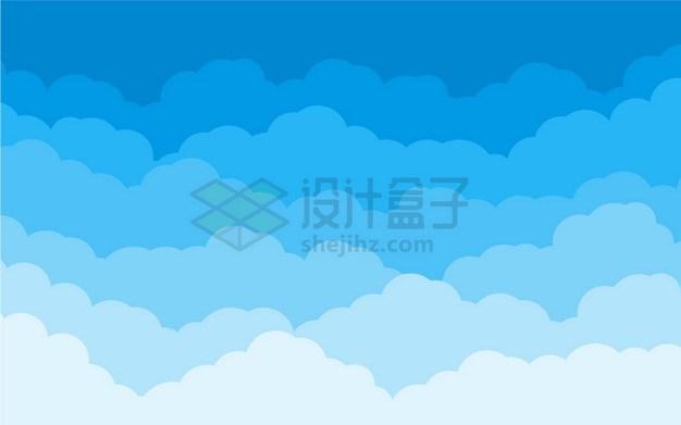 卡通分层蓝色云朵背景图png图片素材 背景-第1张