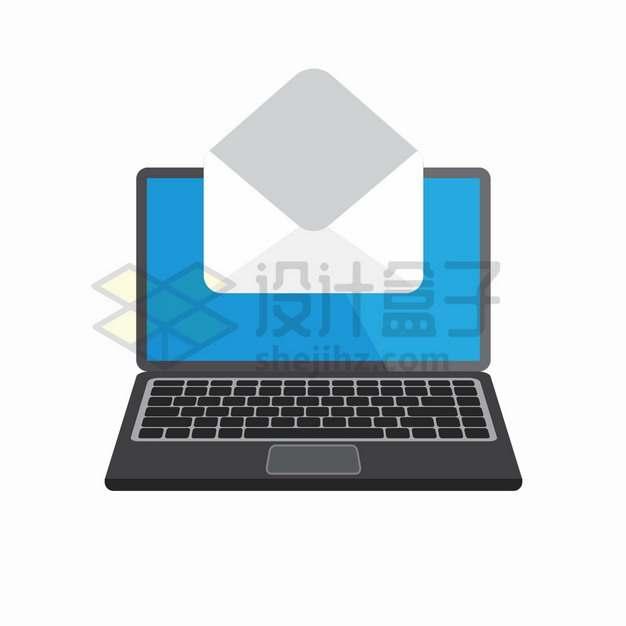 黑色笔记本电脑上打开的信封电子邮件扁平插画png图片素材