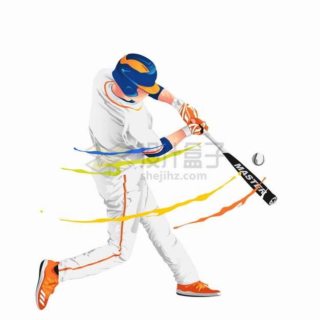 彩色气流棒球运动员击球png图片素材