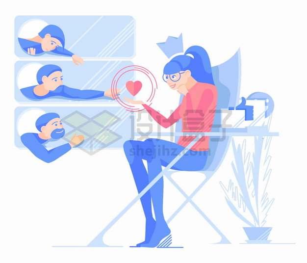 网络上受欢迎的女孩网络交友扁平插画png图片素材