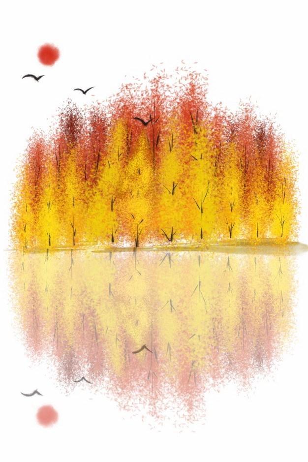 秋天金黄色的树林和倒影风景水彩插画545111png图片素材 生物自然-第1张