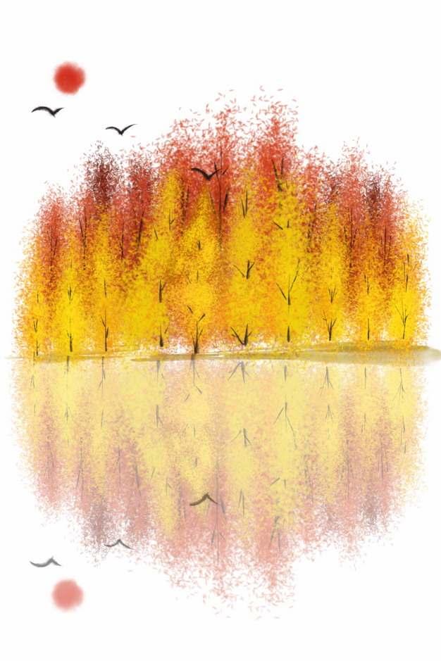 秋天金黄色的树林和倒影风景水彩插画545111png图片素材