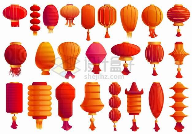 24款红色的灯笼卡通中国风格的灯笼png图片素材