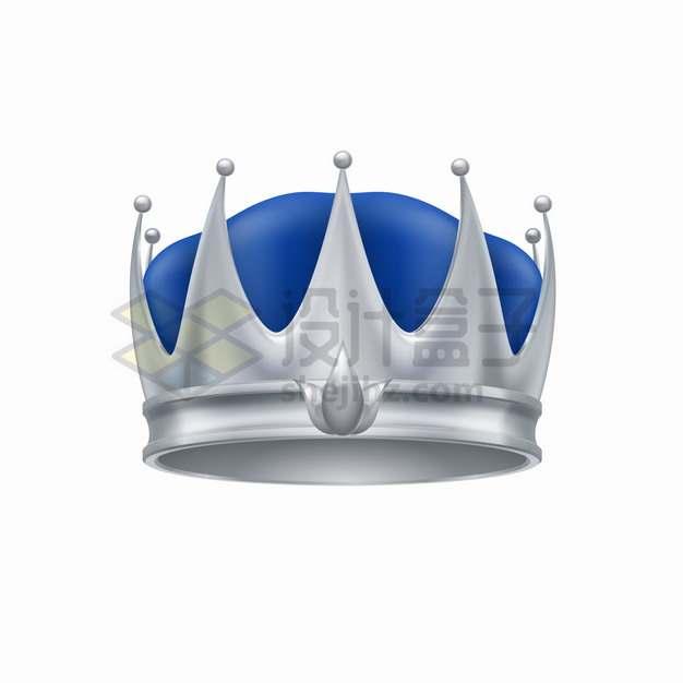银色和蓝色风格的皇冠png图片素材