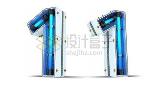 C4D风格蓝色霓虹灯管3D立体数字一1艺术字体152931psd/png图片素材