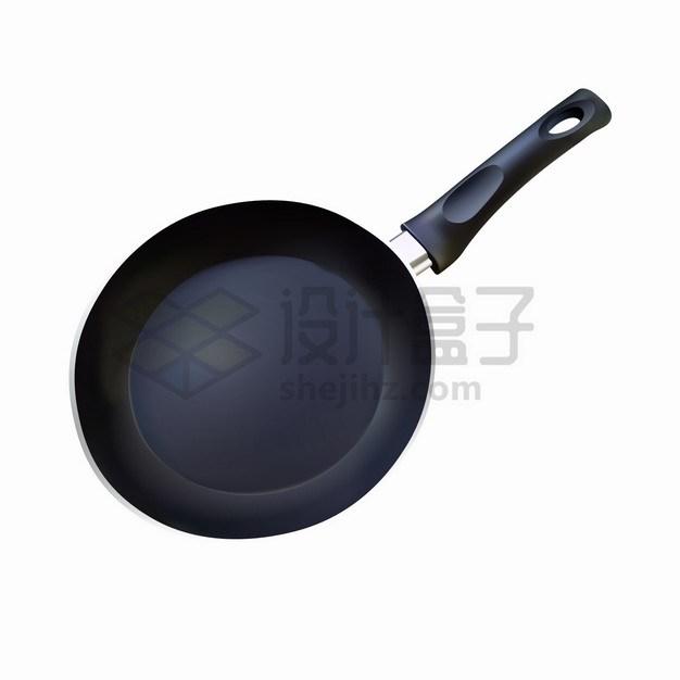 一个黑色的平底锅不粘锅厨房厨具锅具png图片素材 生活素材-第1张
