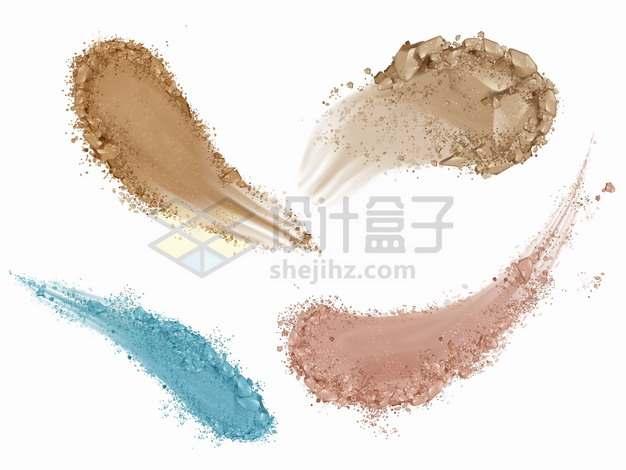 4种颜色的粉末粉底涂抹笔触效果化妆品美妆品png图片素材