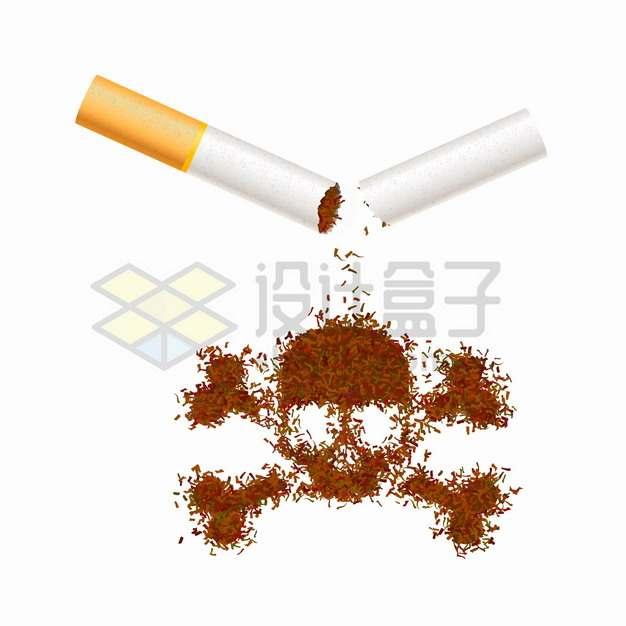 折断的香烟烟丝组成了骷髅头标志吸烟有害健康png图片素材