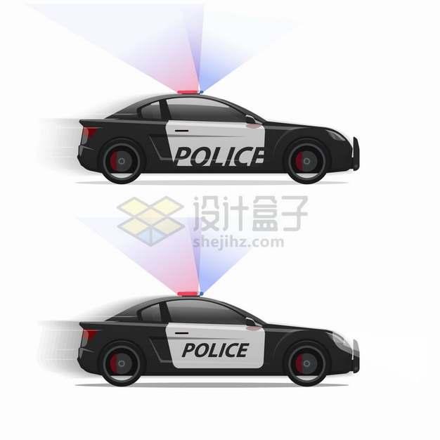 闪着灯光的警车侧视图png图片素材