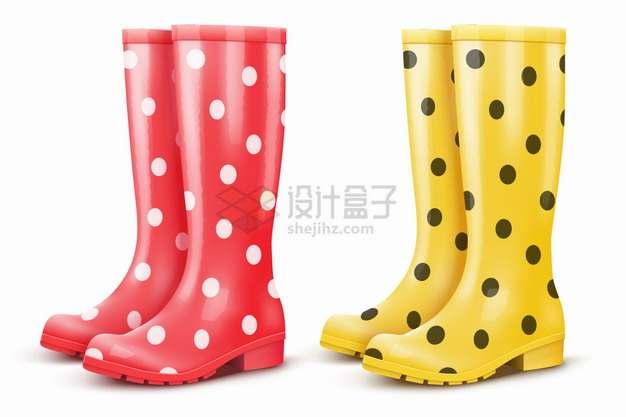 红色和黄色斑点雨靴雨鞋png图片素材