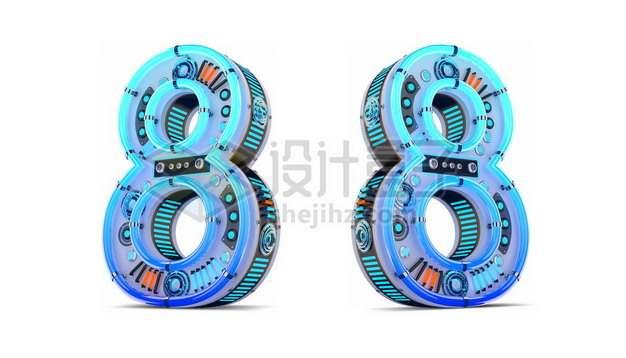 C4D风格蓝色机械3D立体数字八8艺术字体562089psd/png图片素材