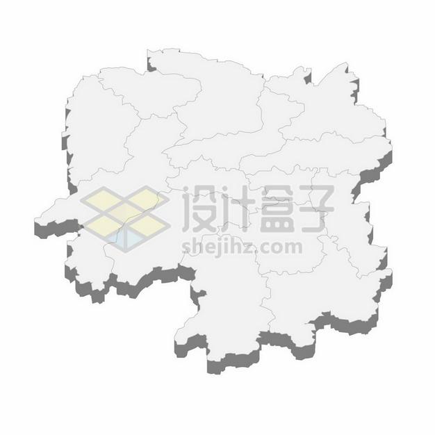 湖南省地图3D立体阴影行政划分地图101476png矢量图片素材 科学地理-第1张