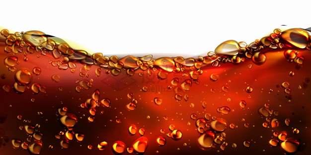 冒着水泡气泡的可口可乐或啤酒或苏打水等饮料液体效果png图片素材