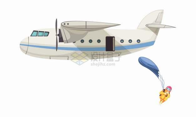 从飞机上打开降落伞高空跳伞极限运动png图片素材