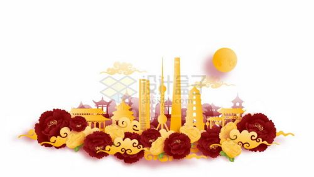 彩色剪纸叠加中国风上海城市风景451346png矢量图片素材