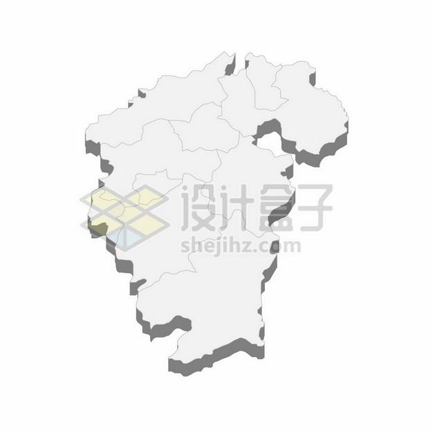 江西省地图3D立体阴影行政划分地图728181png矢量图片素材 科学地理-第1张