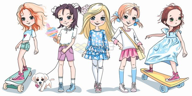 5款卡通二次元美少女玩滑板遛狗走秀上学png图片素材 人物素材-第1张