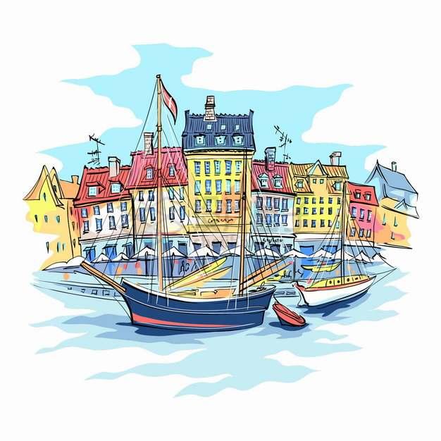 欧洲水城房子和帆船欧洲小镇城市风景水彩插画png图片素材