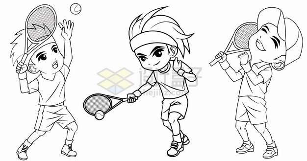 3个打网球的卡通男孩手绘线条插画png图片素材