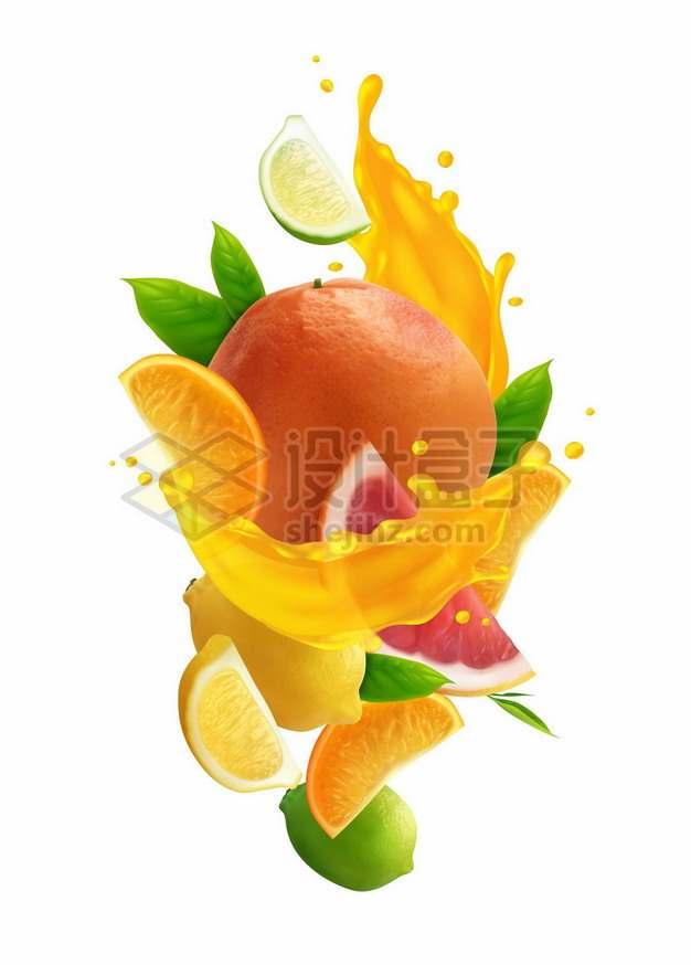 橙子柠檬和橙汁果汁185433png矢量图片素材