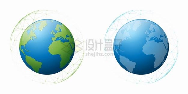 多边形网格中的蓝色和绿色地球模型png图片素材 科学地理-第1张