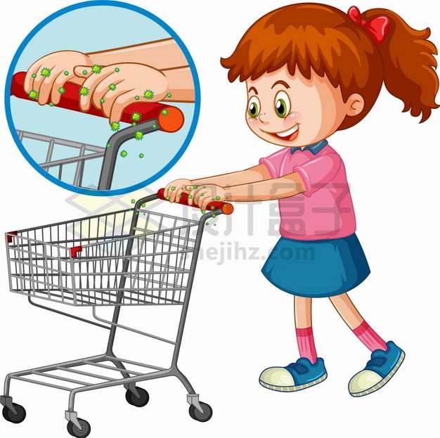 卡通女孩推着超市购物车新型冠状病毒传播png图片素材