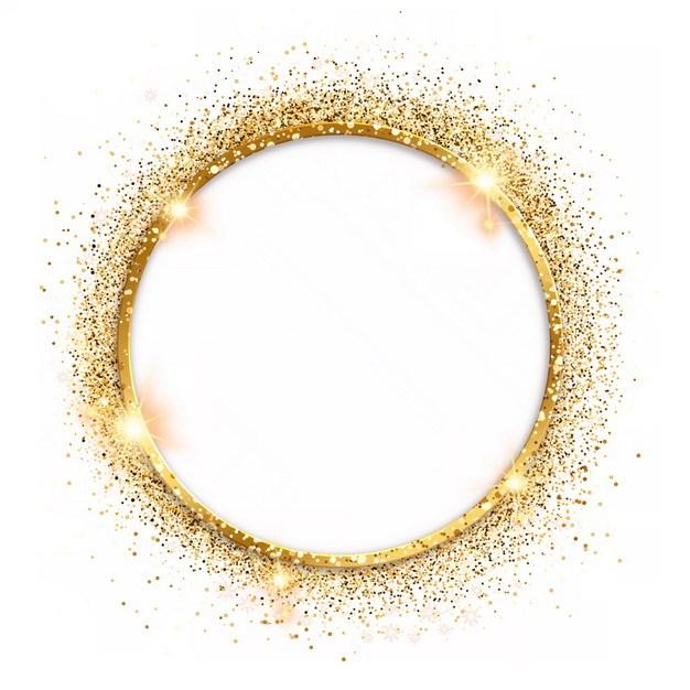 金色金属色圆环和金粉装饰896554png图片素材 边框纹理-第1张