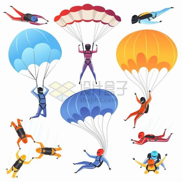 高空跳伞降落伞滑翔伞极限运动卡通插画png图片素材