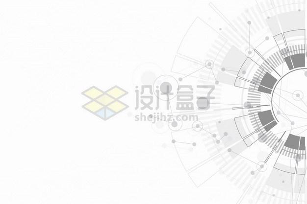科幻风格灰色线条圆环背景装饰png图片素材 线条形状-第1张