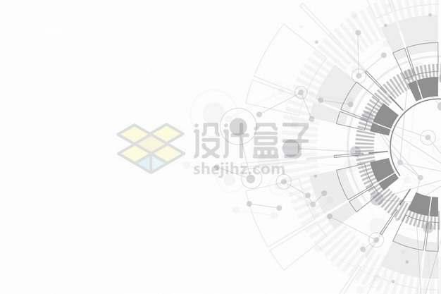 科幻风格灰色线条圆环背景装饰png图片素材