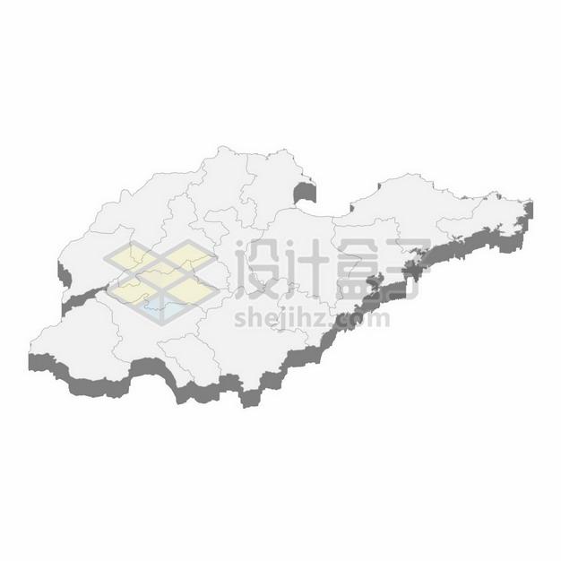 山东省地图3D立体阴影行政划分地图814043png矢量图片素材 科学地理-第1张