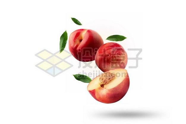 3颗切开的桃子阳山水蜜桃和绿叶装饰814721psd/png图片素材 生活素材-第1张